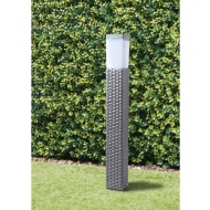 Sorrento Tall Solar Rattan Post Light - Grey
