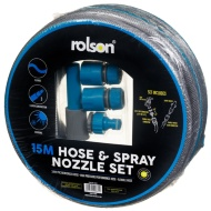 Rolson 15m Hose & Spray Nozzle Set - Blue