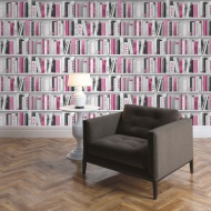 Muriva Glitter Gallery Fashion Library Wallpaper - Pink