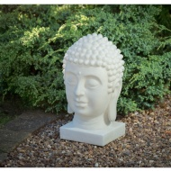 Marble Effect Solar Powered Buddha Head
