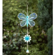 Stained Glass Butterfly with Glitter Windchime - Blue