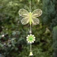 Stained Glass Butterfly with Glitter Windchime - Green