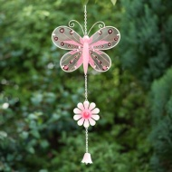 Stained Glass Butterfly with Glitter Windchime - Pink