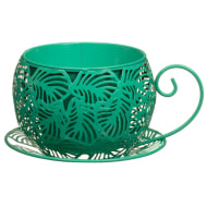 Green Tropical Leaf Teacup Planter