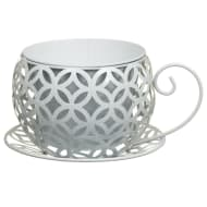White Geometric Teacup Planter