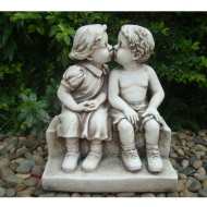 Boy & Girl Kissing on Step Garden Statue