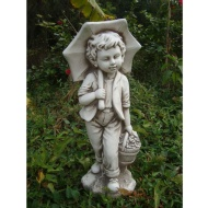Boy with Umbrella Garden Statue