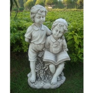 Boy & Girl Reading Book Garden Statue