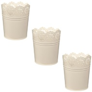 Decorative Metal Planters 3pk - Cream