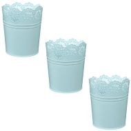 Decorative Metal Planters 3pk - Pastel Blue
