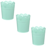 Decorative Metal Planters 3pk - Pastel Green