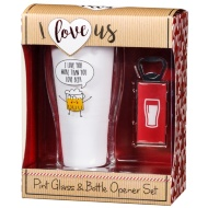 Pint Glass & Bottle Opener Set - I Love You More Than You Love Beer