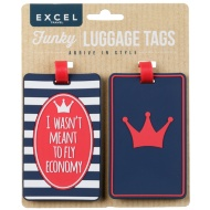 Funky Luggage Tag 2pk - I Wasn't Meant to Fly Economy