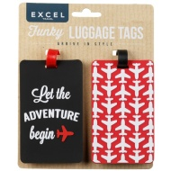 Funky Luggage Tag 2pk - Let the Adventure Begin