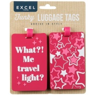 Funky Luggage Tag 2pk - Travel Light?