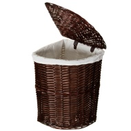 Corner Wicker Laundry Basket - Chocolate