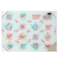 Glass Chopping Board - Cups & Teapots