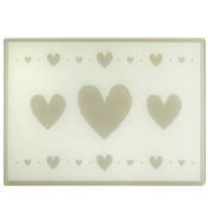 Glass Chopping Board - Grey Hearts