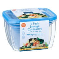 Plastic Square Food Containers 5pk - Blue