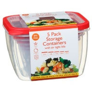 Plastic Square Food Containers 5pk - Red