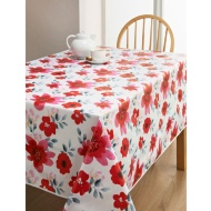 PVC Wipe Clean Tablecloth - Red Floral