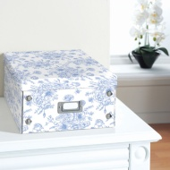 Floral Paper Storage Box Large - Botanical Blue