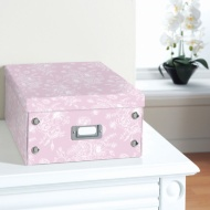 Floral Paper Storage Box Large - Botanical Pink