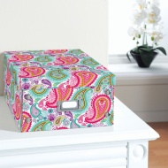 Floral Paper Storage Box Large - Paisley