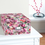 Floral Paper Storage Box Large - Watercolour Blossom