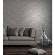 Fine Decor Wentworth Damask Wallpaper - Grey/Silver