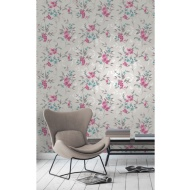 Fine Decor Sparkle Blossom Wallpaper - Fuschia/Teal