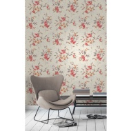 Fine Decor Sparkle Blossom Wallpaper - Red/Orange