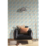 Rasch Scandi Square Wallpaper - Orange/Duck Egg