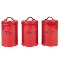 Tea, Coffee & Sugar Set - Red