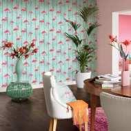 Rasch Flamingoes Wallpaper - Blue