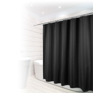 Beldray Fine Jacquard Stripe Shower Curtain - Black