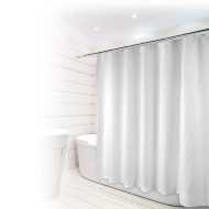 Beldray Fine Jacquard Stripe Shower Curtain - White