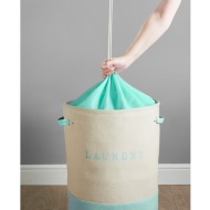 Large 2 Colour Drawstring Laundry Hamper - Aqua
