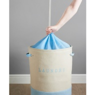 Large 2 Colour Drawstring Laundry Hamper - Blue