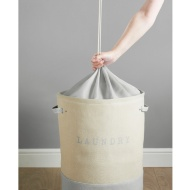 Large 2 Colour Drawstring Laundry Hamper - Grey