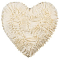 Romance Ruffle Heart Cushion - Cream