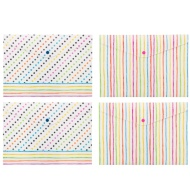 A4 Fashion Popper Wallets 4pk - Spots & Stripes