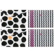 A4 Fashion Popper Wallets 4pk - Spots & Chevrons