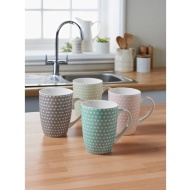 Printed Mugs 4pk - Multi Spot