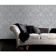 Graham & Brown Oxford Damask Wallpaper - Silver/Grey