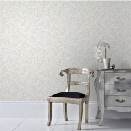 Graham & Brown Cashmere Wallpaper - White/Silver