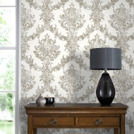 Graham & Brown Opal Damask Wallpaper - White/Gold
