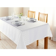 Karina Bailey Geo Jacquard Tablecloth 132 x 178cm - White