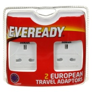 Eveready European Travel Adaptor Lead 2pk