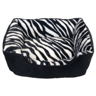 Animal Print Square Pet Bed with Piping